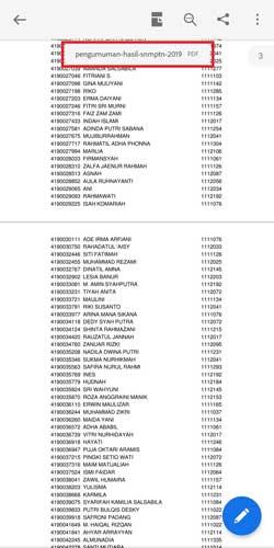 Daftar Nama Lolos Ujian SNMPTN 2019