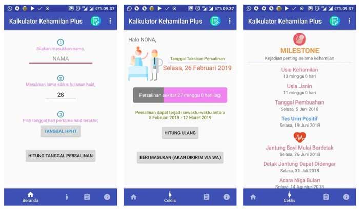 Aplikasi Kalkulator Kehamilan Plus