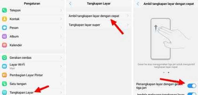 Cara Screenshot Vivo Y12 Dengan 3 Jari