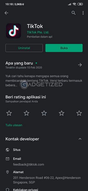Instal Apliaksi TikTok di PlayStore