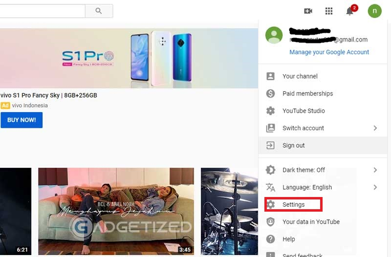 Masuk ke Profil Youtube 1