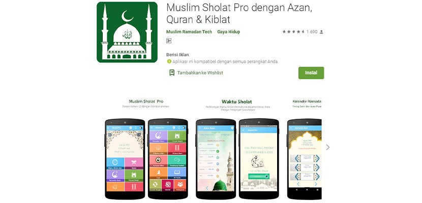 Aplikasi Muslim Prayer Pro with Adzan Quran Qibla Compass