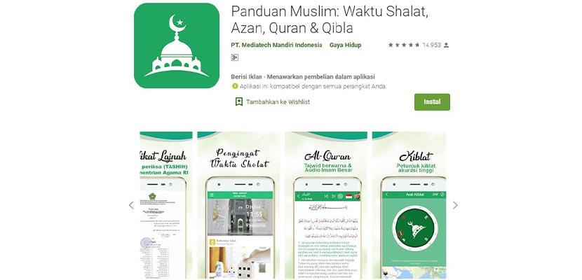 Aplikasi Panduan Muslim Waktu Shalat Adzan Quran Qibla