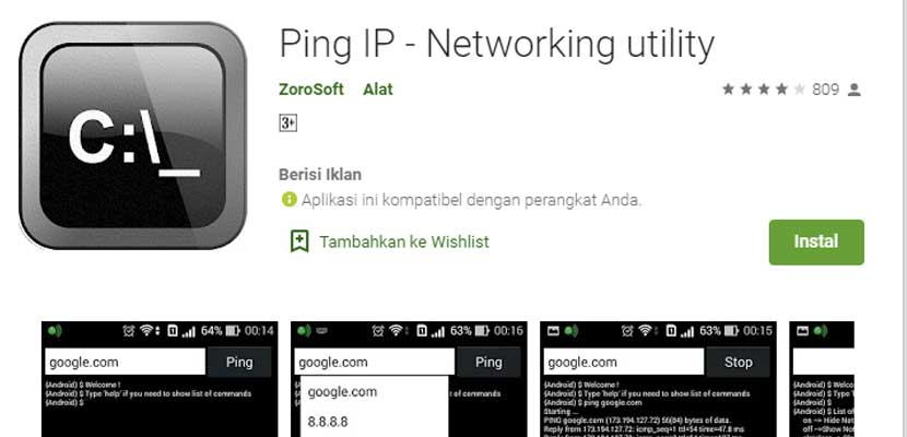 Lewat App Android Ping IP – Networking utility
