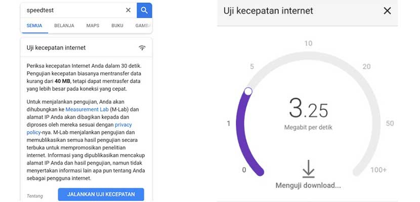 Lewat Speedtest Google