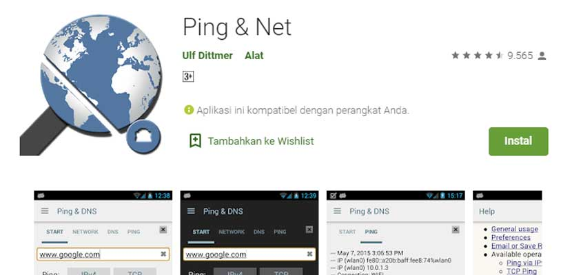 Melalui Ping Net Android