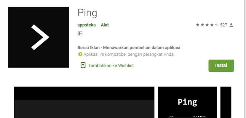 Menggunakan Aplikasi Android Ping