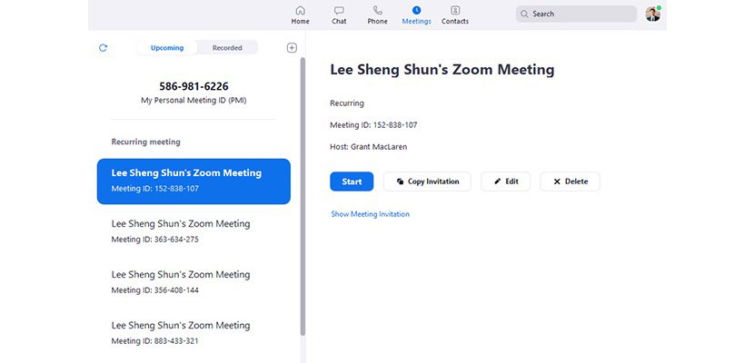 Invite Meeting dari Klien Desktop Zoom