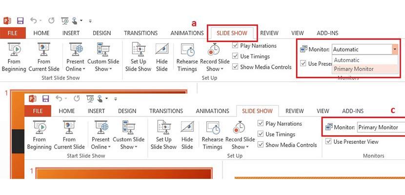 Pengaturan Dual Monitor Dengan Tampilan Slide dan Tampilan Presenter