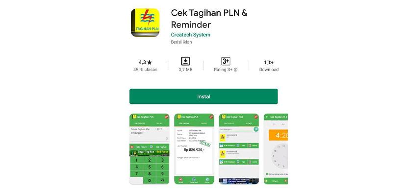 Pertama silahkan Download aplikasi Cek Tagihan PLN