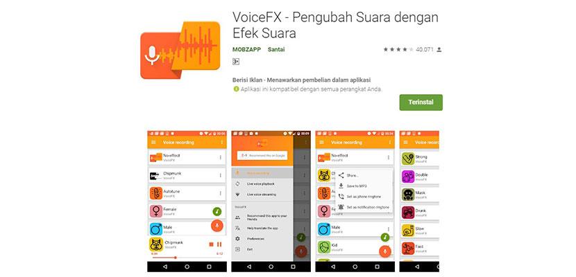 VoiceFX Pengubah Suara dengan Efek Suara