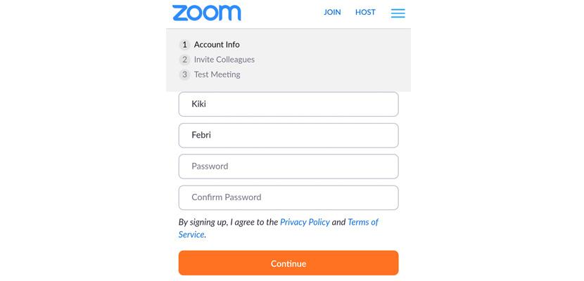 buat nama dan password minimal 8 karakter yang terdiri huruf dan angka pastikan terdapat huruf besarnya