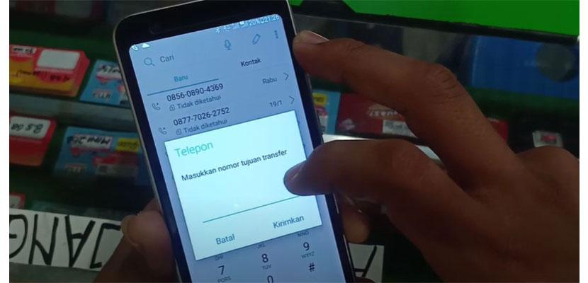masukan nomor telepon tujuan yang akan ditransfer pulsa
