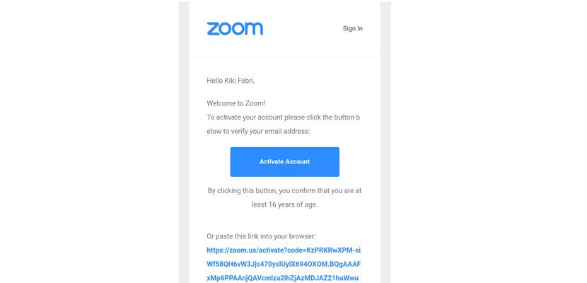 buka pesan email tersebut dan klik activate account
