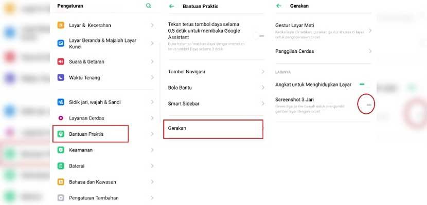 Cara Screenshot Menggunakan Tiga Jari
