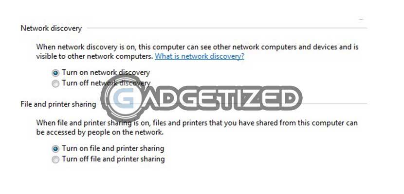 Aktifkan File and Printer Sharing dan Network Discovery