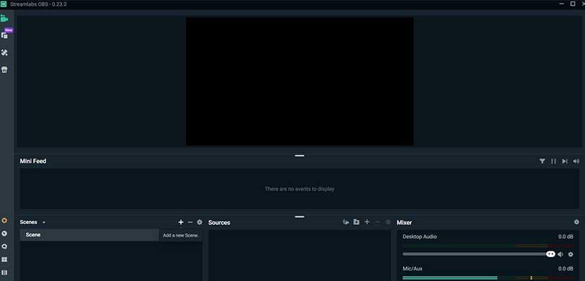 Kemudian tampilan akan beralih ke menu utama Streamlabs OBS.