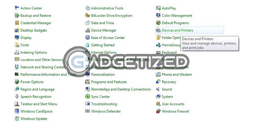 Klik menu Device and Printers