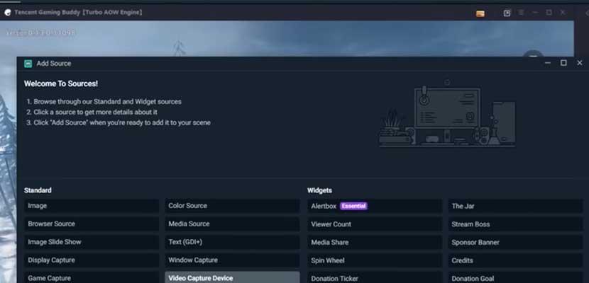 Klik menu Sources Video Caputer Device