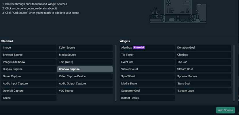 Klik menu Sources Windows Capture