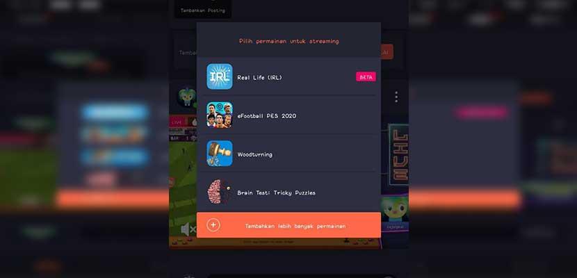 Pilih game yang akan dimainkan untuk live streaming di Facebook