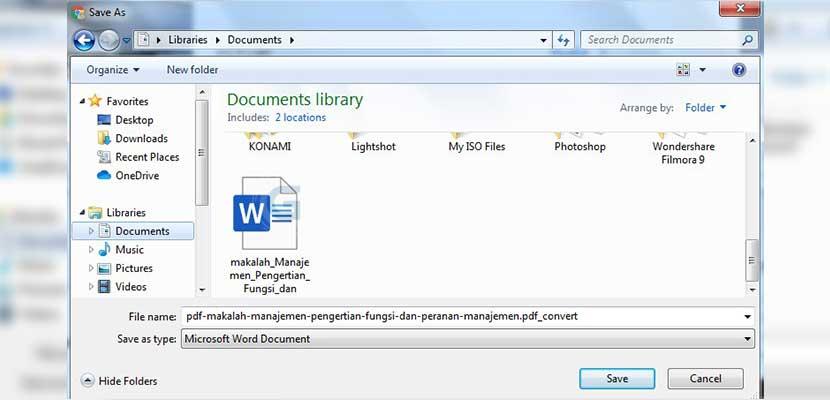 Simpan file pada folder yang diinginkan