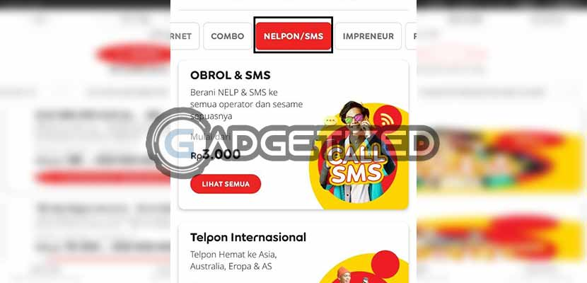 Buka menu Paket Nelpon dan SMS