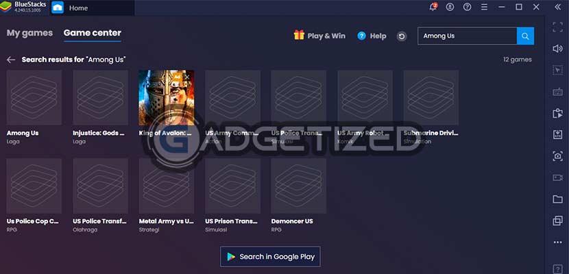 Klik Search in Google Play