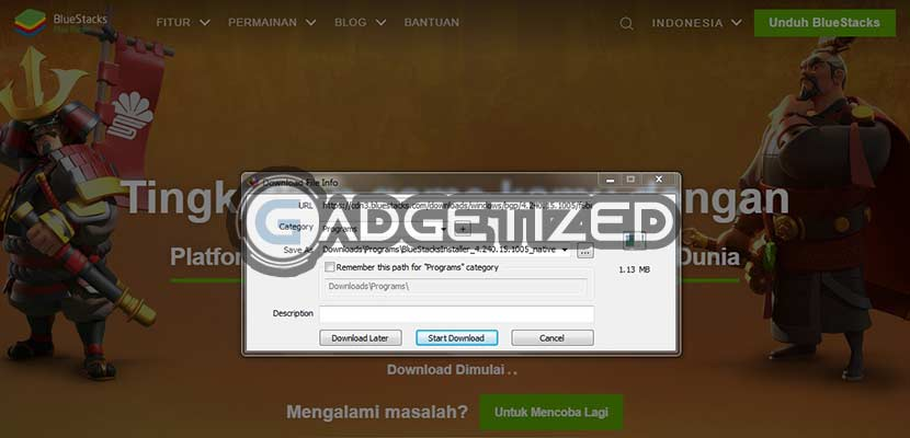Klik Start Download 1