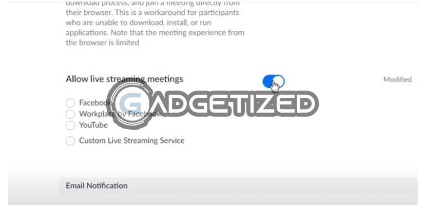 Aktifkan Allow Live Streaming Meetings