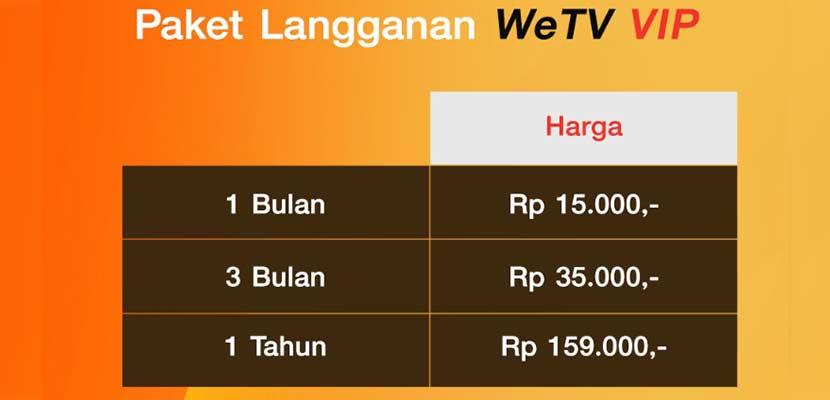 Harga Paket Langganan WeTV