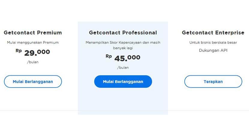 Jenis Harga Paket Berlangganan di Get Contact
