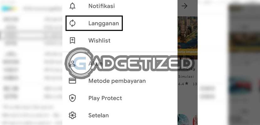 Klik menu Langganan