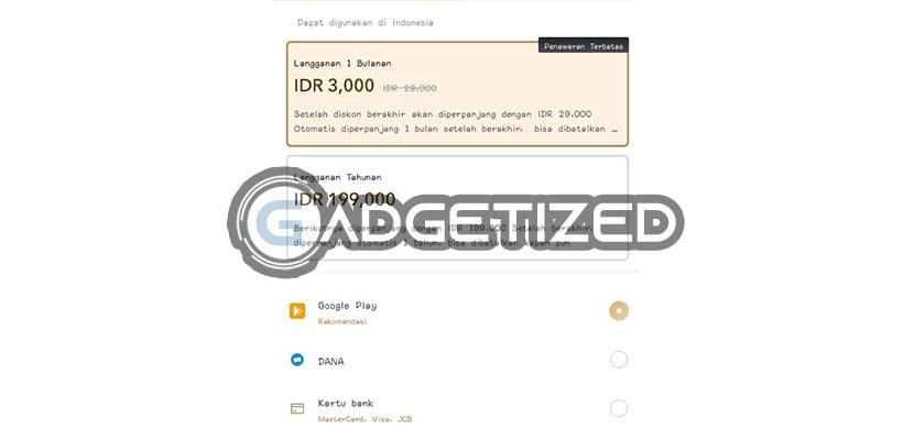 Pilih Paket Metode Pembayaran