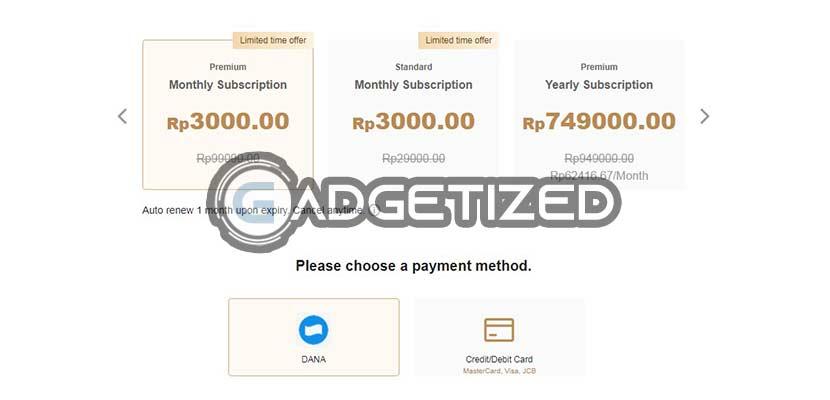 Pilih Paket dan Metode Pembayaran