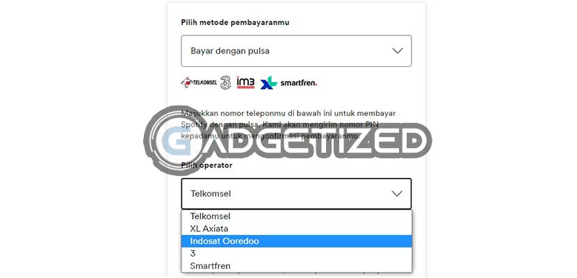 Pilih Operator Masukkan Nomor HP