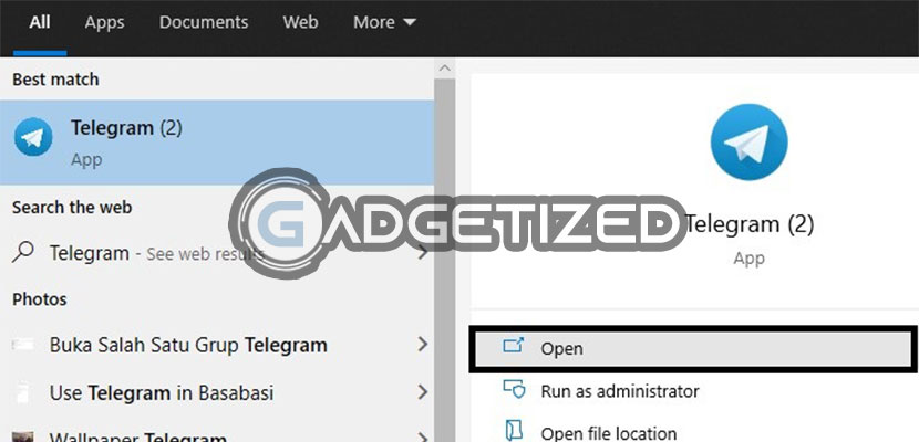 Jalankan Telegram Desktop