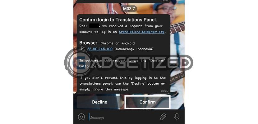 Konfirmasi Setlang Telegram