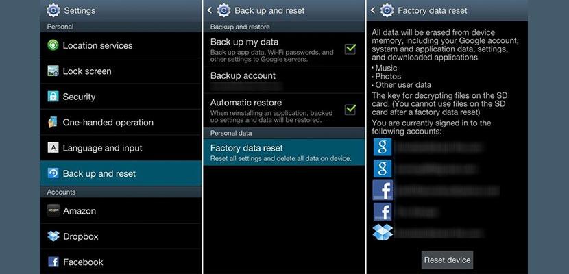 Reset HP Samsung via Setting