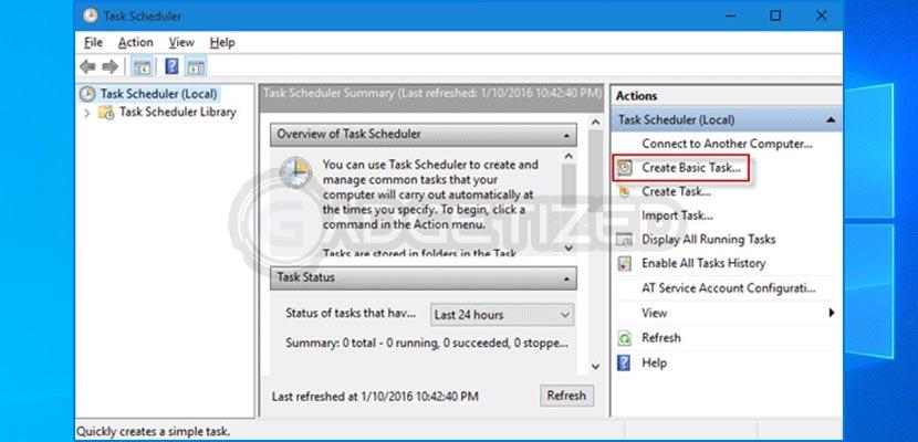 3. Setelah task scheduler terbuka silahkan klik Create Basic Task... untuk membuat tugas baru di panel sisi kanan.