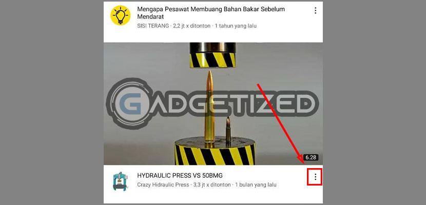 Pada video yang tidak disukai tekan ikon menu 3 Titik