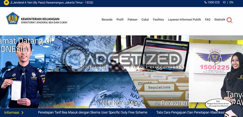 Pertama kunjungi situs beacukai.go .id melalu browser di HP Tablet atau Komputer genggam