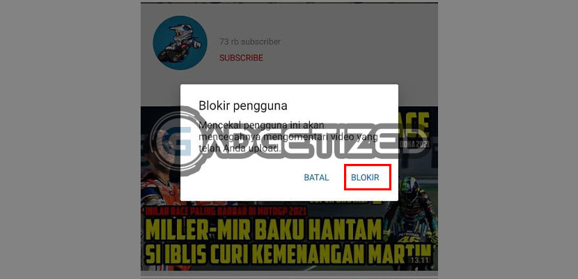 langsung saja tekan Blokir untuk memblokir channel tersebut