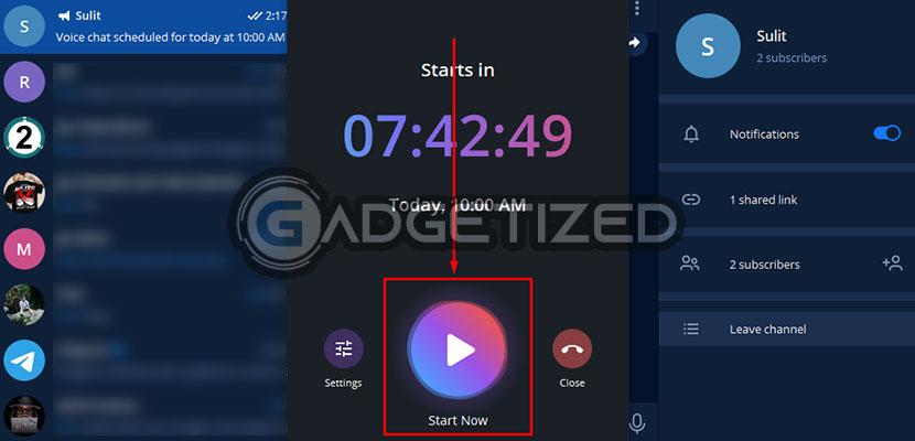 menekan Start Now untuk memulai obrolan suara yang telah dijadwalkan