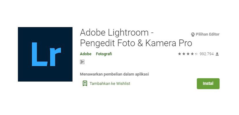 Aplikasi Edit Foto Adobe Lightroom
