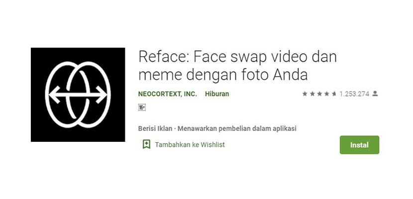 Aplikasi Ganti Wajah Reface