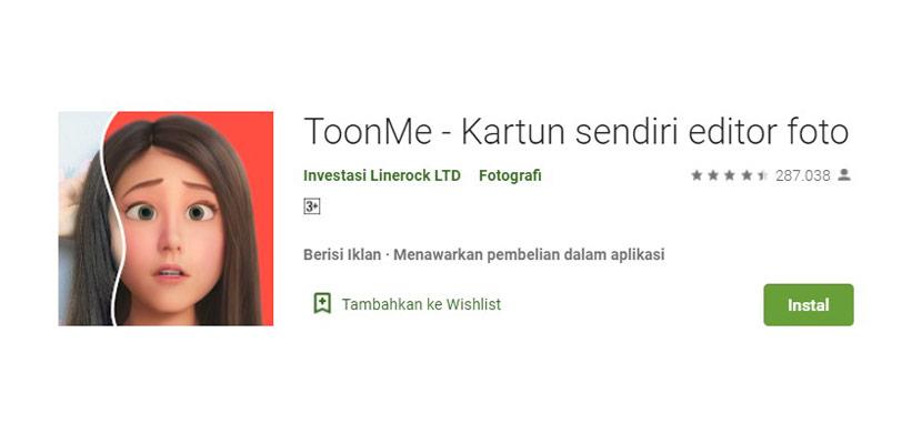 Aplikasi Ganti Wajah ToonMe