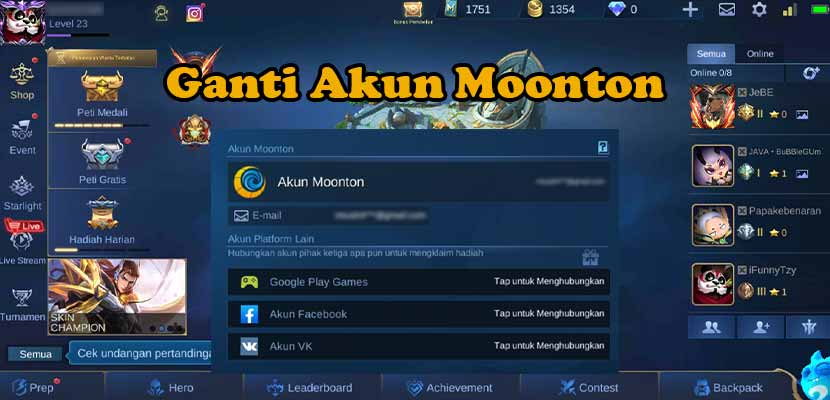 Cara Ganti Akun Moonton Mobile Legends