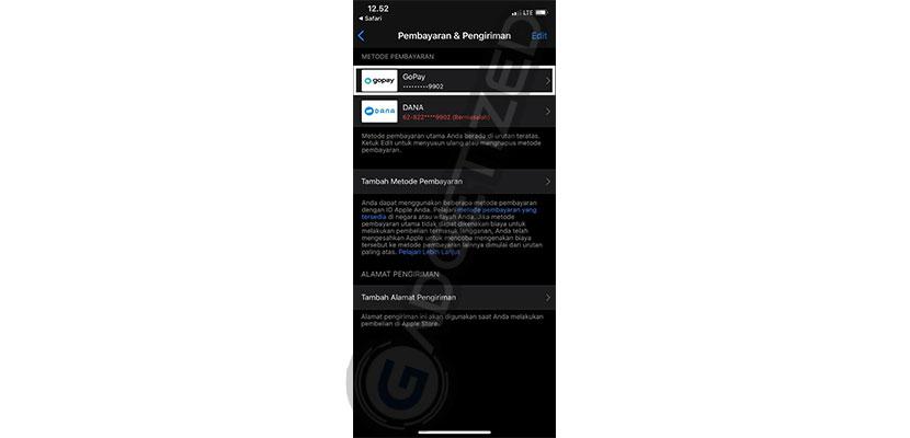 Berhasil Menambah GoPay di App Store