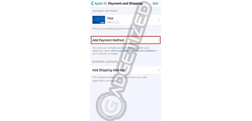 Klik Add Payment Method